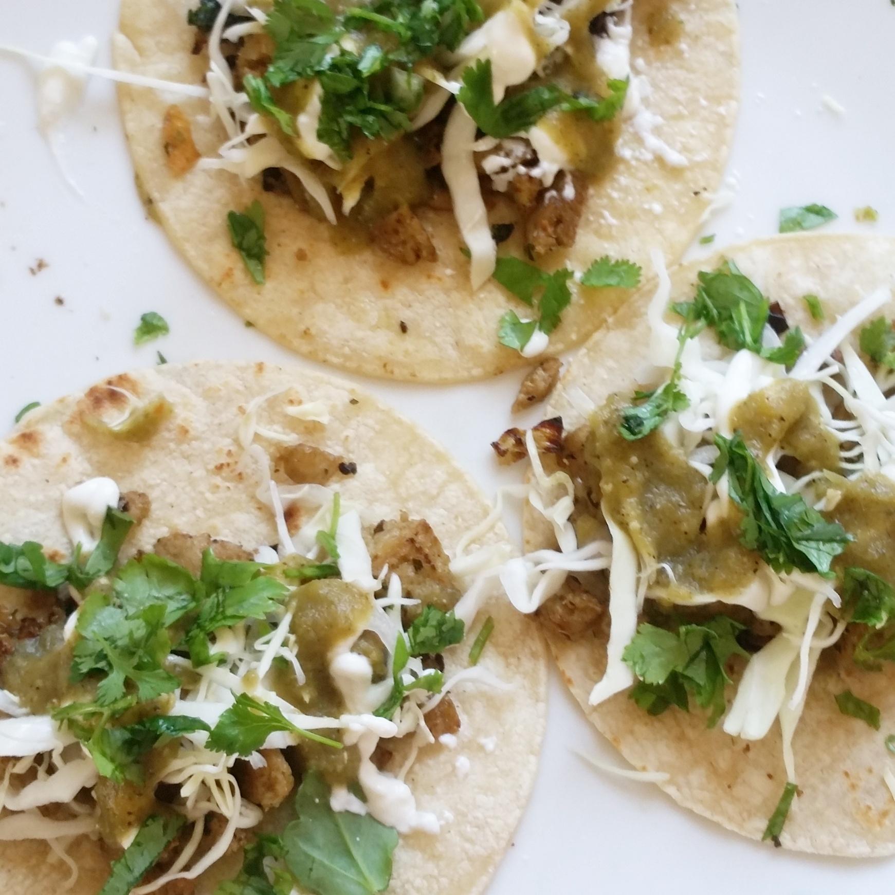 Vegetarian Chile Verde Tacos